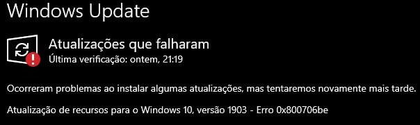 Como resolver o erro 0x800706be do Windows Update - Guia
