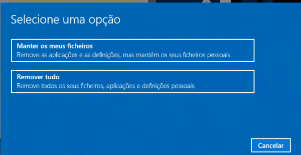 reset do windows 10 mantendo os arquivos