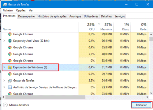 reiniciar o expolorador do windows menu iniciar não abre